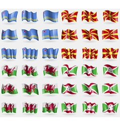 Aruba Macedonia Wales Burundi Set of 36 flags of vector