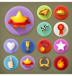 Awards and achievement long shadow icon set vector image vector image