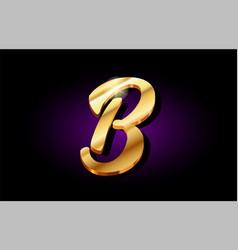 B alphabet letter golden 3d logo icon design vector