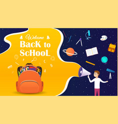 Back to school banner with backpack and school vector