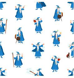 bearded elderly wizard making magic flat vector image