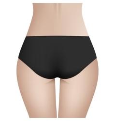 Beautiful woman s body in black bikini panties vector image