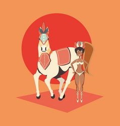 Beautiful woman with circus horse carnival show vector
