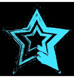 Blue star grunge vector