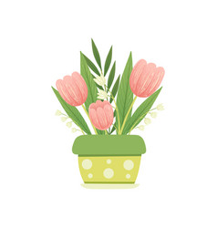 bouquet of pink tulips and lilies of the valley in vector image