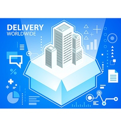 Bright delivery box and buildings on blue ba vector