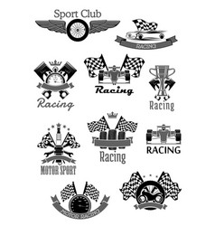 Car or sport motor racing club icons set vector