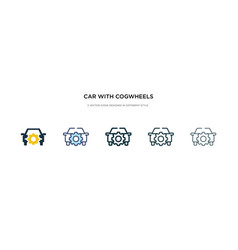 Car with cogwheels icon in different style two vector