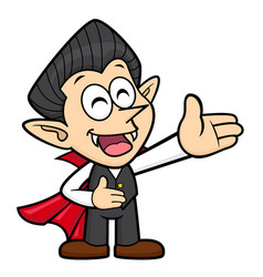 Cartoon dracula character is a guide gesture vector