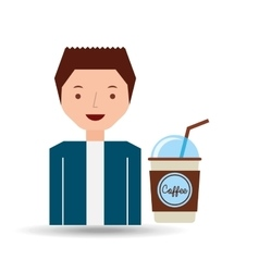 cartoon guy with cup coffee cover straw design vector image