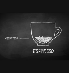 chalk drawn sketch of espresso coffee vector image