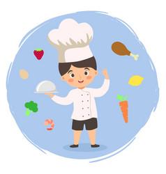 Chef boy cooking food cartoon vector