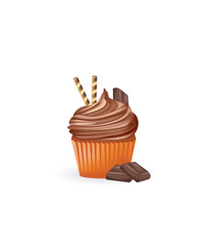 chocolate cupcake with chocolate cube vector image