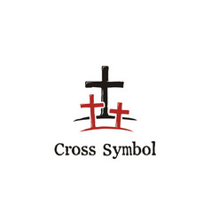 Christian jesus cross tomb with two thieves logo vector