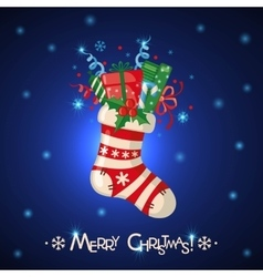 Christmas card with sock full of gifts vector image