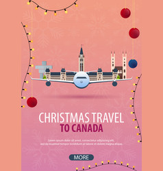 Christmas travel to canada winter travel vector