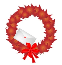 Christmas Wreath of Red Maple Leaves and Envelope vector image