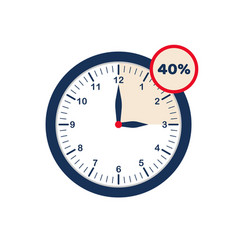 Clock showing discounted time limited time offer vector