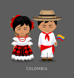colombians in national dress with a flag vector image