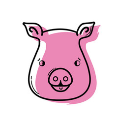 Color cute pig head wild animal vector