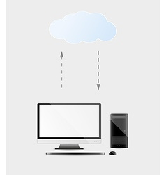 Computer with cloud service vector