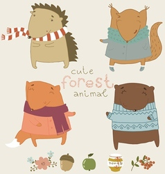 Cute animals living in the forest vector image