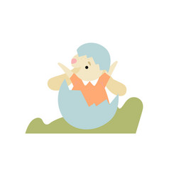 cute bunny sitting in egg shell happy easter vector image