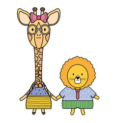 cute female giraffe with lion vector image