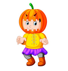 Cute kid wearing scarecrow costume vector