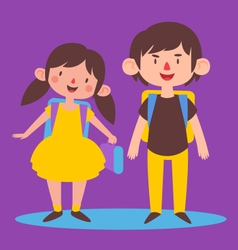 Cute Siblings Ready to go Back to School vector