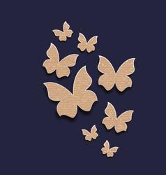 Dark background with butterflies made in carton vector