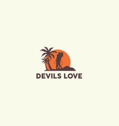 devil in love logo design template vector image