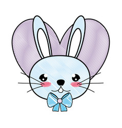 doodle male rabbit head with tie bow and heart vector image