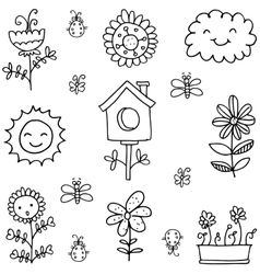 Doodle of spring set black white vector