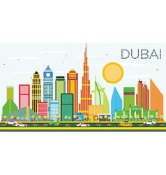 Dubai Skyline with Color Buildings and Blue Sky vector