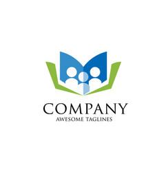 education logo education logo open book vector image