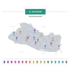 El salvador map with location pointer marks vector