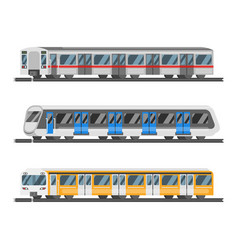 Flat style set metro trains vector