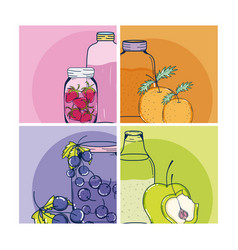 fruit juice cards vector image