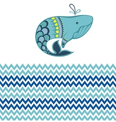 Funny whale vector image vector image