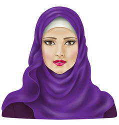 Girl in violet hijab vector image
