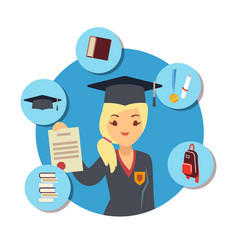 Graduate concept with student girl and school vector