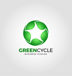 green cycle - nature green leaf logo vector image