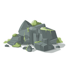 grey stones and rocks cartoon nature vector image