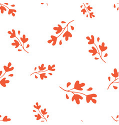 hand drawn orange leaves seamless pattern vector image