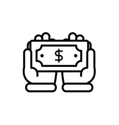 hands with banknote business cash money line vector image