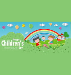 happy children day background group of kids vector image