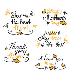 happy mothers day hand lettering stickers vector image