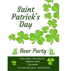 Happy st patrick s day invitation poster flyer vector