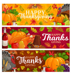happy thanksgiving banners falling leaves vector image